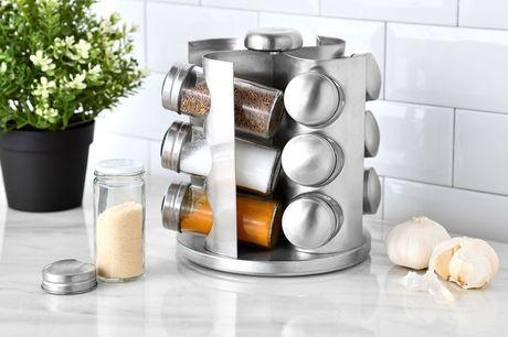 Draaibaar kruidenrek Inclusief 12 glazen kruidenpotjes<br /> De standaard is 360 graden draaibaar<br /> Onmisbaar in elke keuken