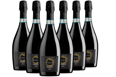6 Bottles of Infinitum Prosecco DOC     The scent is delicate and slightly aromatic     With fruity notes reminiscent of pear and green apple     Followed by floral notes of acacia flowers and wisteria     The taste is fresh, subtle, with balanced aci