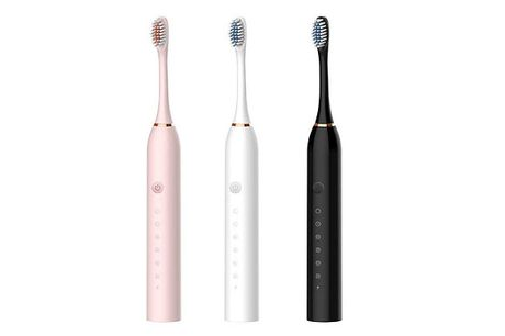 USB Rechargeable Waterproof Electric Toothbrush + 4 Toothbrush Heads - 3 Colours     Comes with a manual, an electric toothbrush and 4 x brush heads     Also comes with a charging cable     Dimensions: 220mm (H) x 25mm (D)     Easy to clean     Ai
