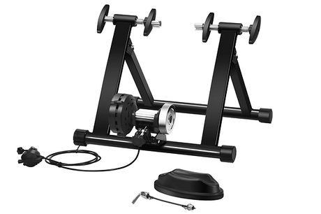 Folding Resistance Training Bike Stand - Standard or Adjustable     Transform your bicycle into an indoor bike with this resistance training stand     Adjustable stand has 8x resistance levels to suit your training needs     Pyramid structure and front