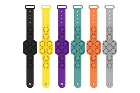 1 or 4 Bubble Stress Relief Pop Bracelet - 6 Colours     Choose from purple, yellow, green, black, orange     Stress-relief design is great for playing with discreetly     Made with 100% silicone     In a discreet watch design     Pop this deal in y