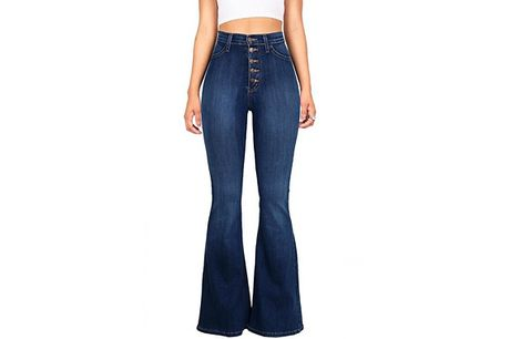 Women's High-Rise Wide-Leg Jeans - 2 Colours & 7 Sizes     Choose from UK sizes: 8-20     Team with a crop top and heels for a classy evening look     Made from cotton, polyester and spandex     Perfect addition to your wardrobe     Feel and look y