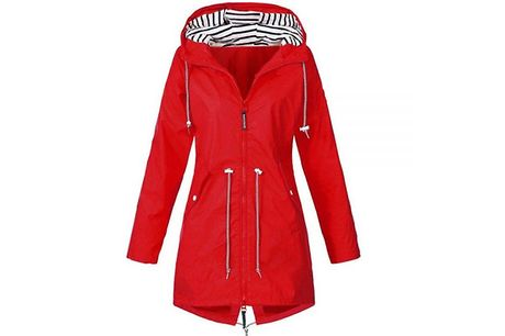 Casual Long Weatherproof Hooded Jacket - 6 Colours & 6 Sizes     Includes a cute striped lining on the hood and adjustable toggles     Fastens with a zip down the front and has two pockets on the side     Pockets can be closed with poppers to keep your